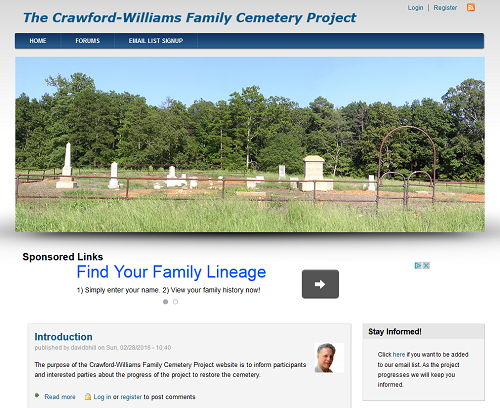Crawford-WilliamsCemetery.Info website